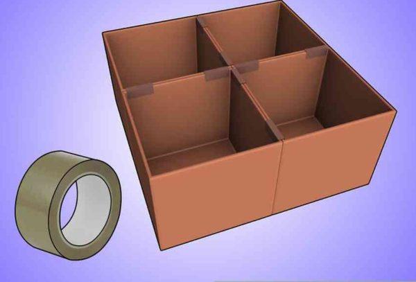 Проклейте стороны коробок или соедините их скотчем