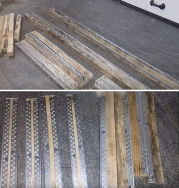 Боковые кромки заготовок нужно обить перфорированными металлическими уголками