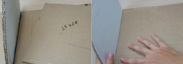 Между полочками приклеивается еще один слой картона