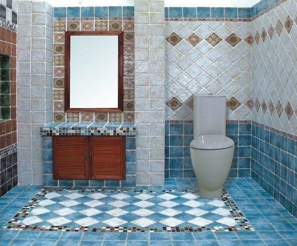 Майолика в интерьере ванной комнаты