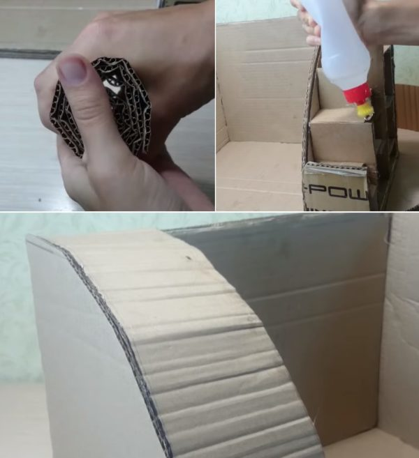 Полоска картона закрывает ребра жесткости