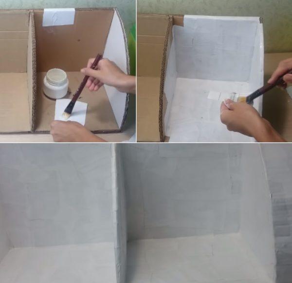 Обклеивание полки бумагой