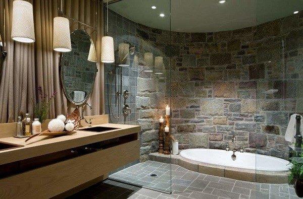 Каменная плитка в ванной комнате