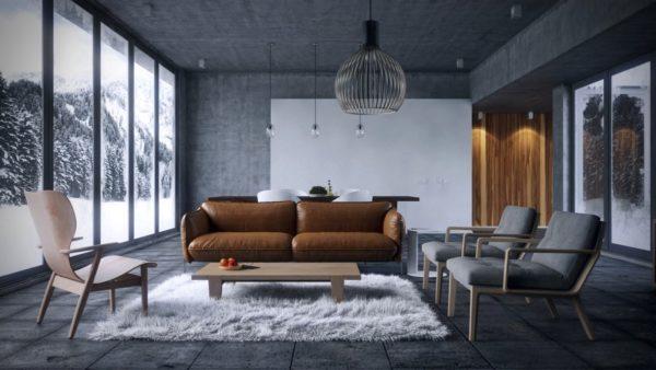 В «холодном» интерьере коричневый диван создаст атмосферу уюта и тепла