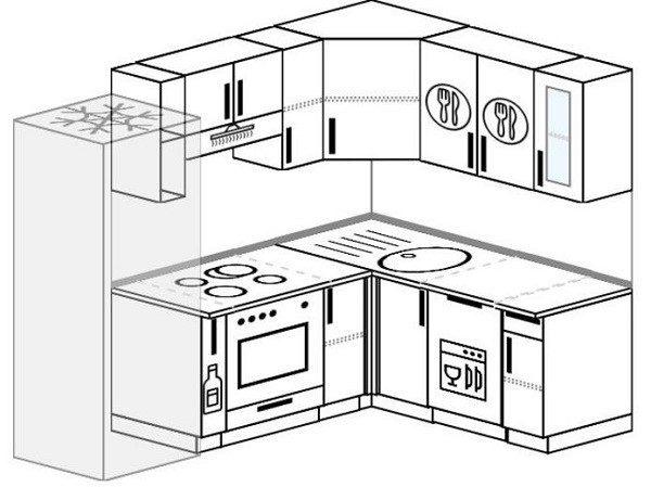 Примерный план размещения посудомойки и другой кухонной техники