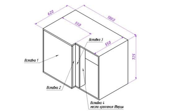 Шкаф с дополнительной вставкой под крепление дверцы