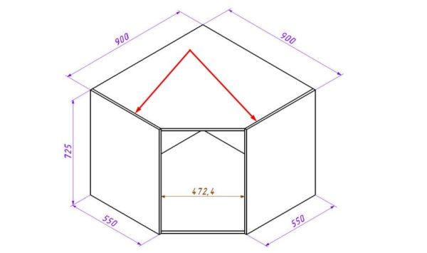 Конструкция углового шкафа с фасадом под 45 градусов