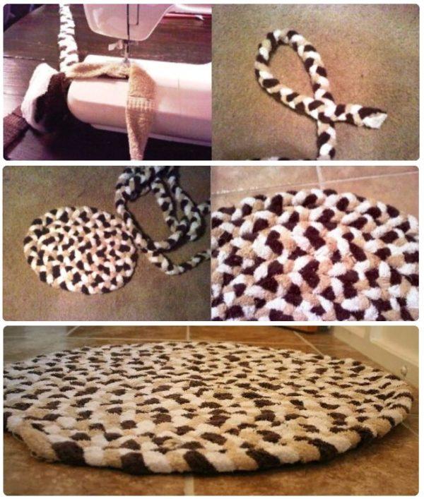 Махровый коврик-косичка