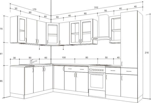 Для начала нужно составить подробный чертеж, учитывая замеры кухни