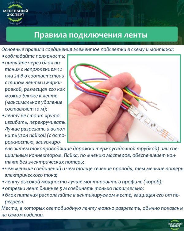 Правила подключения ленты