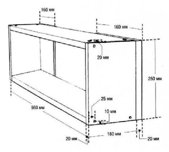 Примерная схема конструкции, где указаны все размеры полок