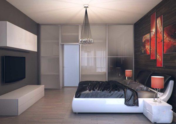 Пространство спальни хай-тек может зонироваться перегородками, шкафами или стеллажами