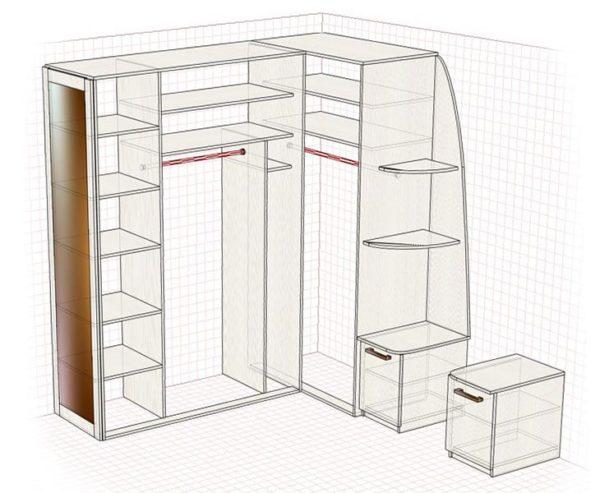 Шкаф-купе Г-образной формы