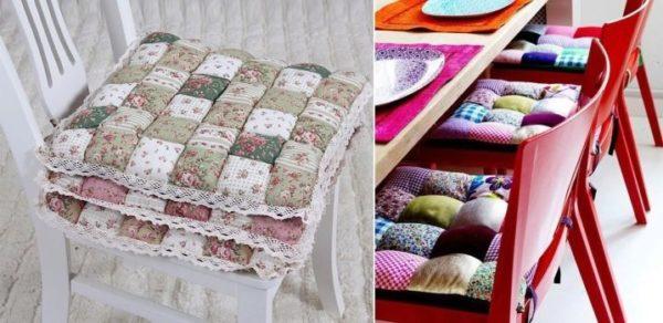 Сидушки на стулья могут как дублировать основной текстиль, так и выделяться