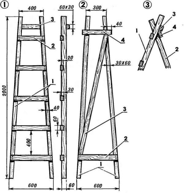 Ступеньки будут расположены только с одной стороны стремянки-книжки, с другой же стороны будет только дополнительная Z-образная подпорка, которая будет выступать в качестве ребра жесткости