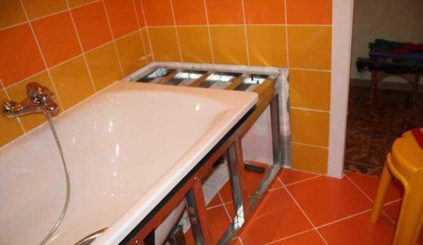 Подготовка короба для ванны