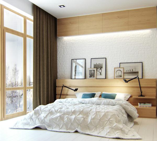 При оформлении спален в скандинавском стиле лучше всего использовать натуральные материалы: древесину, камень, стекло, мех