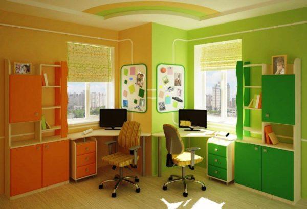 Цветовые акценты помогут разделить комнату на две части