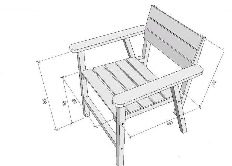 Мы будем рассматривать изготовление простой конструкции с подлокотниками, с которой справиться даже новичок