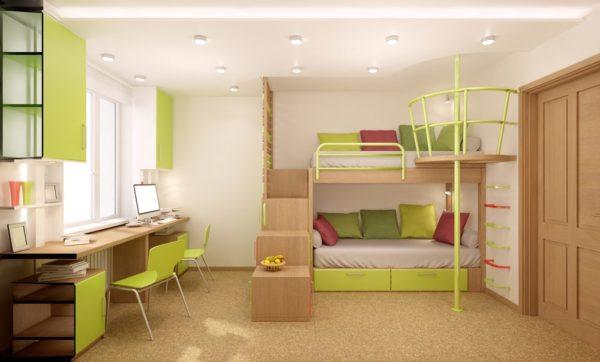 Двухъярусная кровать станет отличным выбором для семьи с двумя детьми