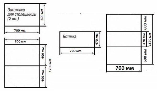 Схема конструкции раздвижного стола