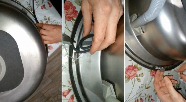 Установка резинового уплотнителя и фиксаторов