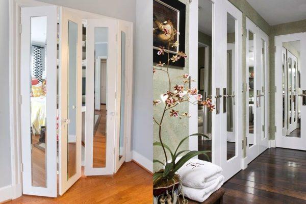 Белый цвет двери зрительно облегчает интерьер