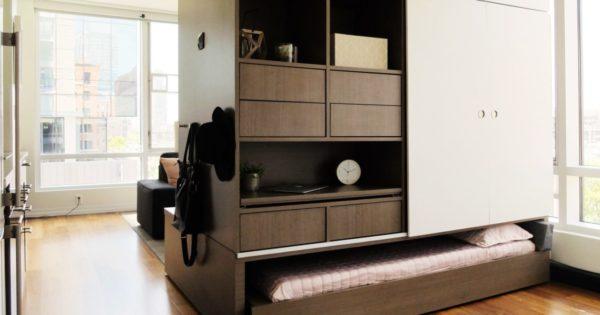 Образец многофункциональной мебели, объединяющей зону сна, хранения и гостиной
