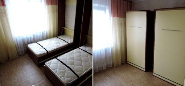 Кровать в открытом и закрытом положениях