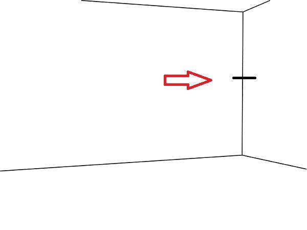 Сделайте карандашом отметку на нужном уровне, тут будет находиться самая высокая точка телевизора - его верхний торец