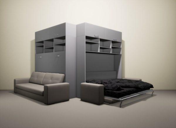 Кровать-шкаф в собранном виде совершенно незаметна в интерьере