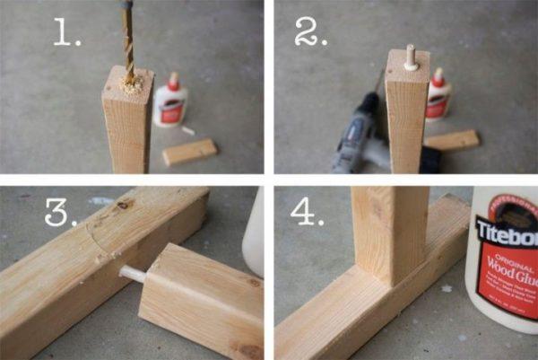 На фото показано, как крепить ножки к столешнице