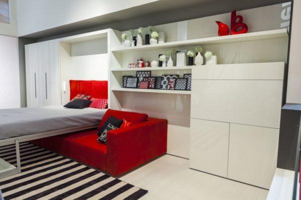 Шкаф-кровать состоит не только из спального места и дивана – сюда могут входить платяной шкаф, стеллаж и полки