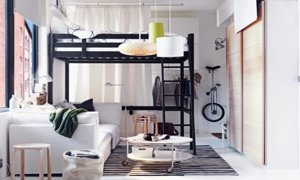 Современный интерьер спальни-гостиной