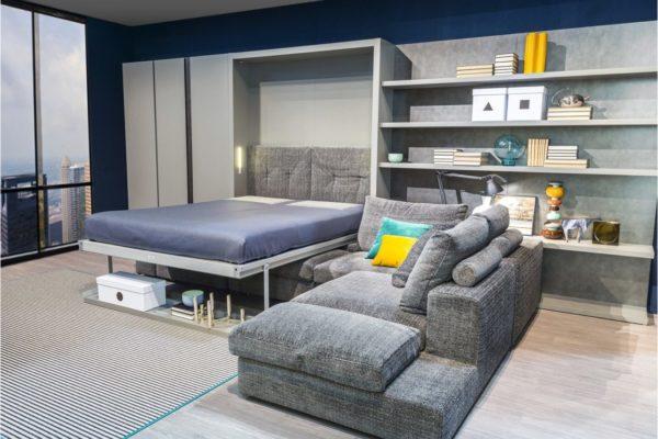 Угловая конструкция дивана с встроенной кроватью