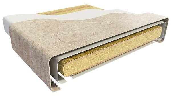 Бумага, пропитанная специальными смолами, превращается в пластик, который надежно покрывает столешницу