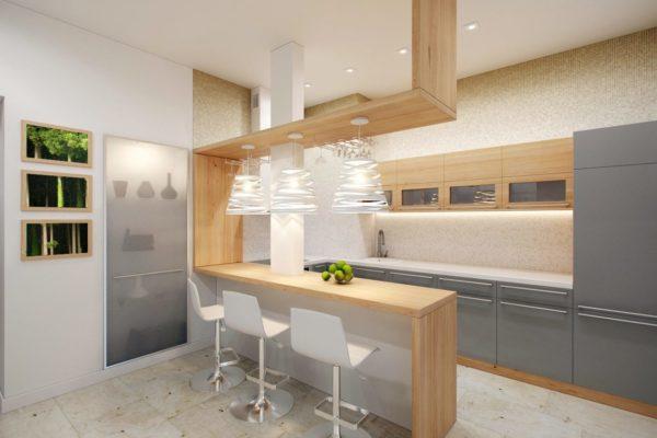Бар может быть дополнительной рабочей поверхностью кухни