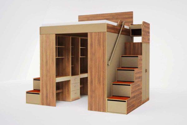 Многофункциональная конструкция с гардеробом и рабочими местами
