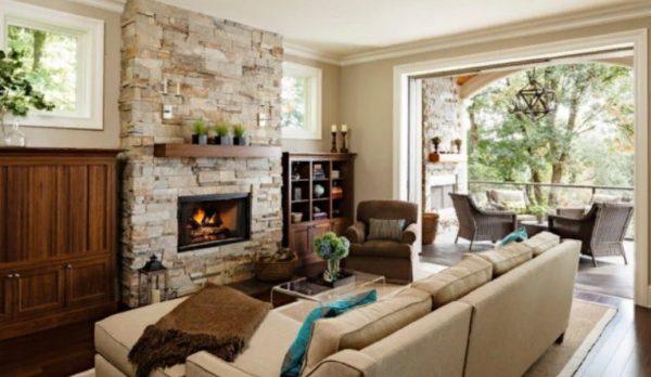 Чаще всего очаг размещают в гостиных или специальных каминных комнатах