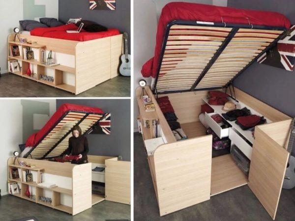 Кровать-подиум с вместительной зоной хранения