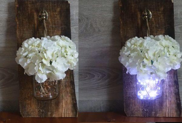 Бра – настенный светильник на батарейках в виде вазочки с цветами мастерим своими руками