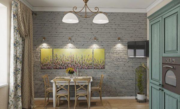 Кирпичная стена серого цвета на кухне в стиле прованс