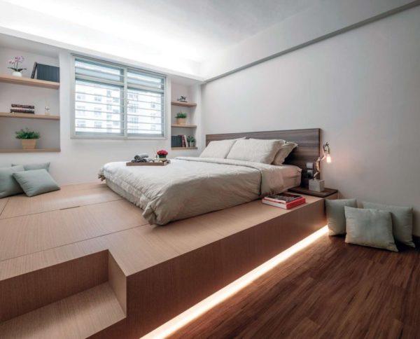 Кровать-подиум с подсветкой. Грамотная эргономика