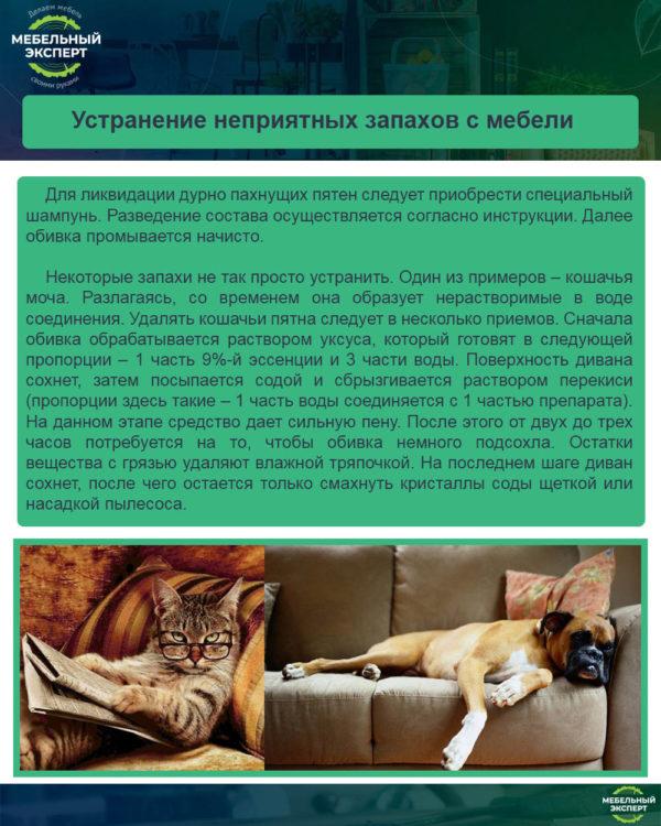 Устранение неприятных запахов с мебели