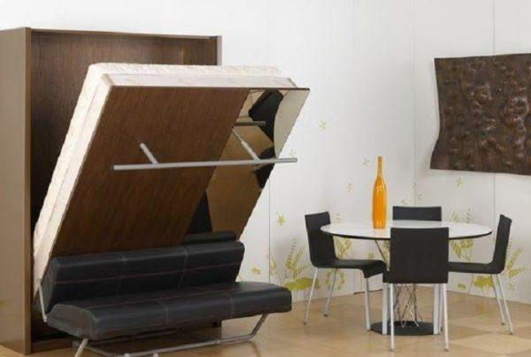 Многофункциональный шкаф-кровать 6 в 1 с зеркалом, подсветкой, полкой в собранном виде