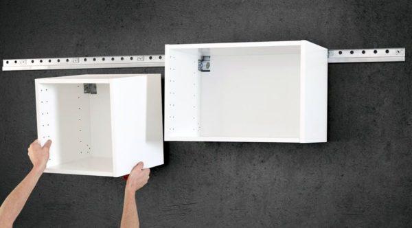 Монтаж кухонных шкафчиков на планку