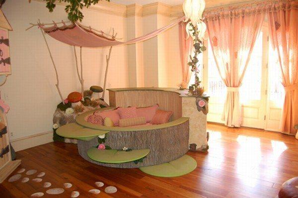 Необычная кровать круглой формы в детской