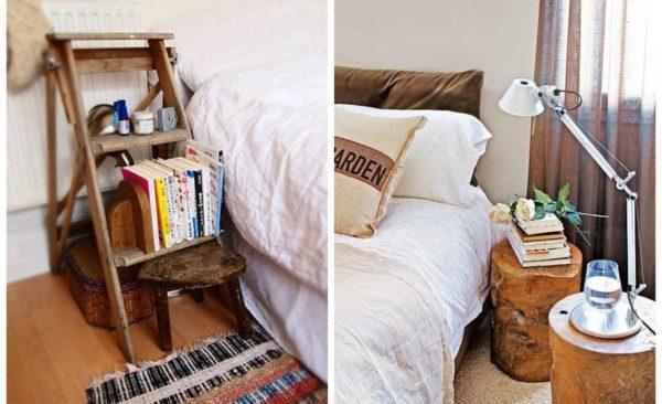 Оригинальные прикроватные тумбочки в спальне