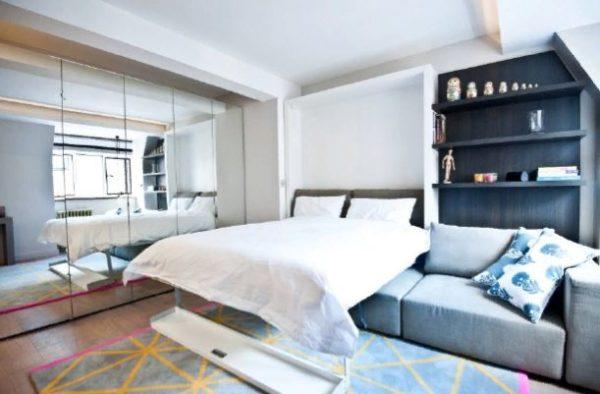 Раскладная кровать над диваном