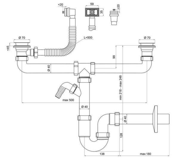 Схема сифона для двойной раковины с возможностью подключения бытовой техники
